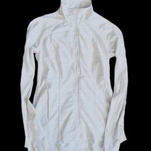 White athletic front zip jacket